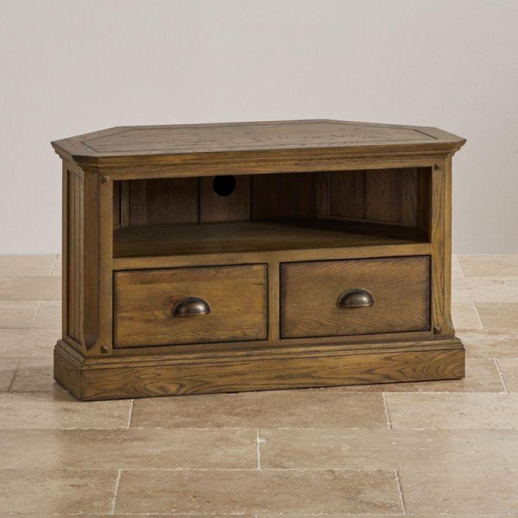 Manor House Vintage Solid Oak Corner TV Cabinet