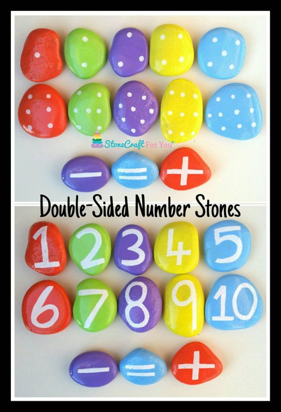 Double-Sided Number Stones by StoneCraftForYou on Etsy