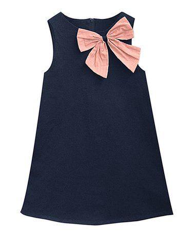 Look at this #zulilyfind! Navy & Peach Suzy Dress - Infant, Toddler & Girls #zulilyfinds