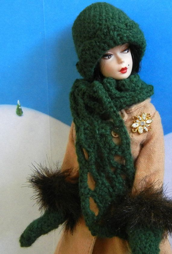 crochet pattern for 5 Christmas accessories for Barbie (hat, scarf, and mittens shown in this photo), on Etsy