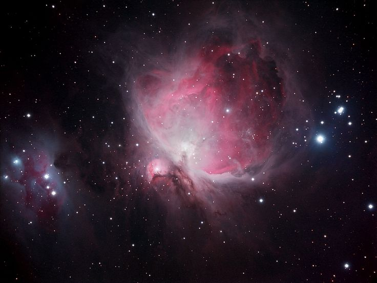 "Brian Davis took this photo of the Orion Nebula from a driveway in the suburbs of Sumter, S.C., over 3.5 hours on Jan. 1, 2012 using a QSI 583wsg camera, Stellarvue SVR105 4"" APO Refractor telescope, mounted on a Celestron CGE. Davis sent the image in to SPACE.com on Oct. 8. The entire region of the sword of Orion can be seen in the photo. The Running Man Nebula, or NGC 1977, is visible to the left of the image. [Read the Story Behind This Photo Here]"