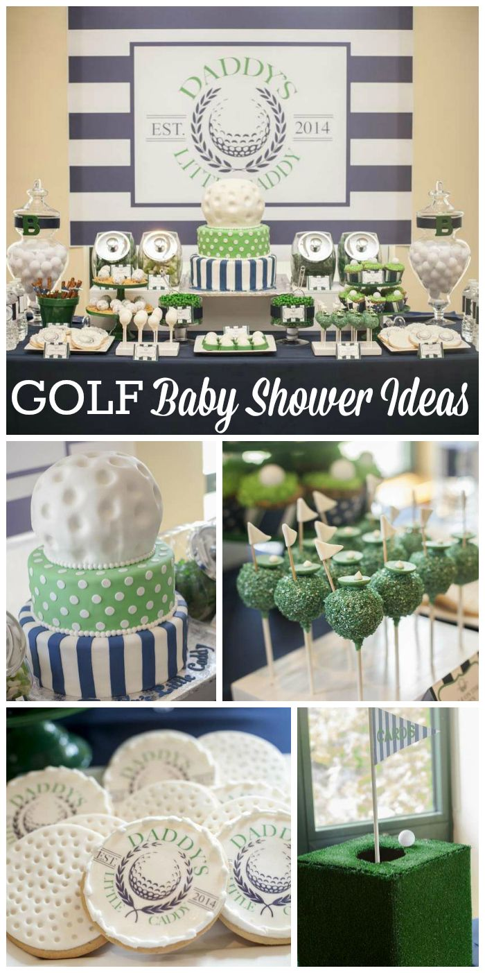 "A baby shower with a ""Daddy's Little Caddy"" golf theme in navy blue and green with a preppy look!  See more party planning ideas at CatchMyParty.com!"