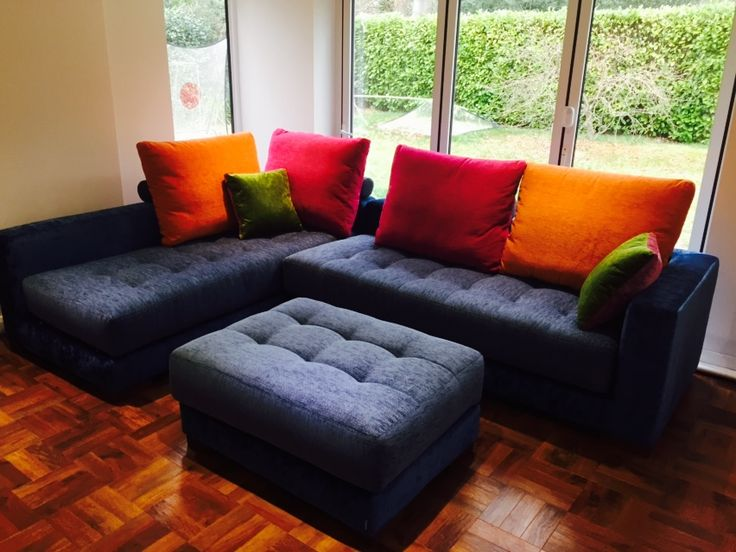 We Just Love How These Yecla Modular Sofa Sections And Matching Pouffe Look  In Fun Fabric
