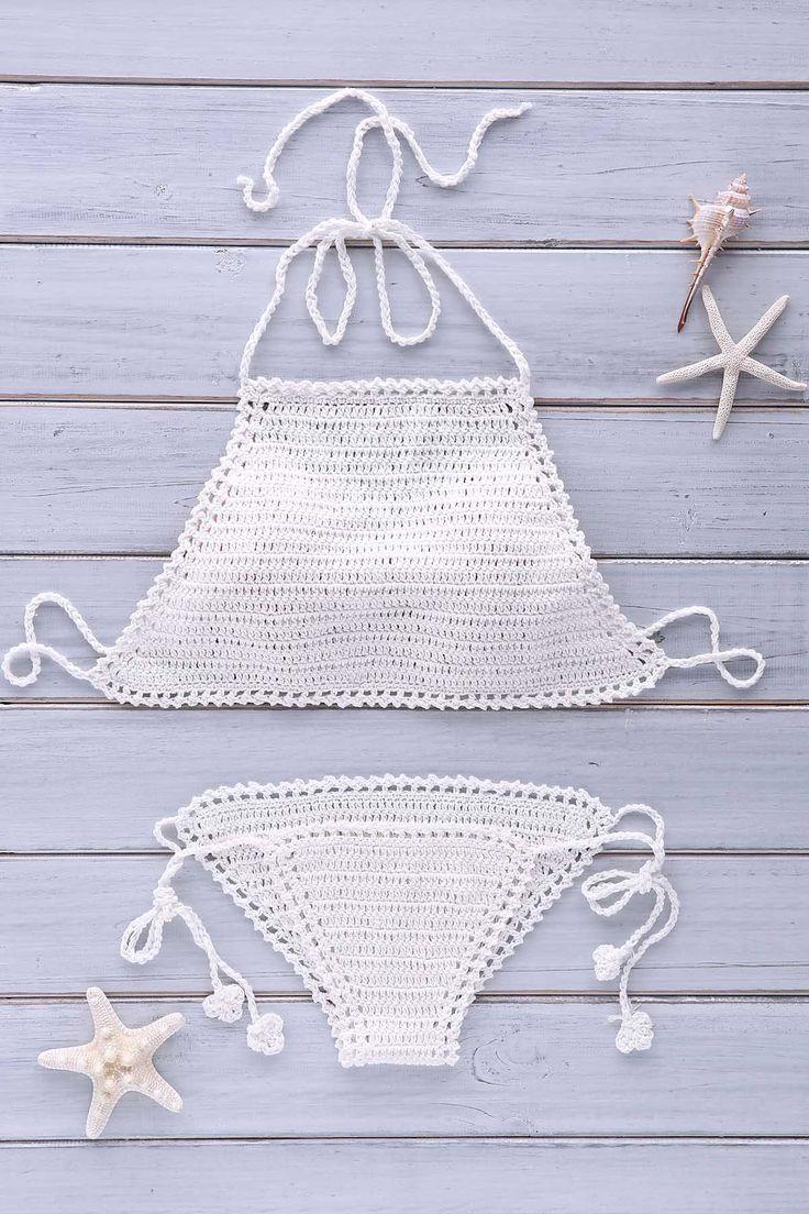 Crochet Halter Solid Color Bikini Set | http://www.zaful.com/crochet-halter-solid-color-bikini-set-p_162155.html