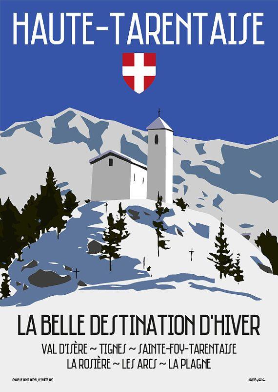 Une grève des années 60 style voyage affiche couvrant la région de Haute-Tarentaise des Alpes Français. Toutes les grandes stations de ski dans la vallée de la Haute-Tarentaise figurent notamment le Val DIsere, Tignes, Sainte-Foy-Tarentaise, La Rosière, Les Arcs & La Plagne. Limage présente la Chapelle Saint-Michel dans Le Châtelard.    Toutes les affiches sont imprimées sur un 190 g/m² haute qualité affiche avec encres pigmentées LUCIA de Canon.   Disponible dans les tailles suivantes…