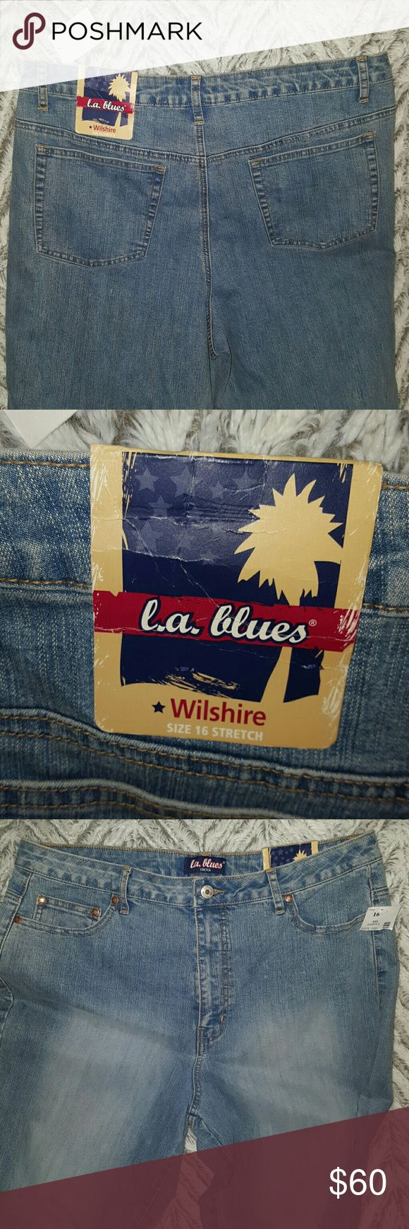 LA Blues Stretch Light Wash Jeans ~ NWT LA Blues Stretch Light Wash Jeans ~ NWT ~ Size 16 ~ 73% cotton 26% polyester 1% spandex. Light stretch wash jean with a lighter wash down thighes. I ship daily L.A. Blues Jeans