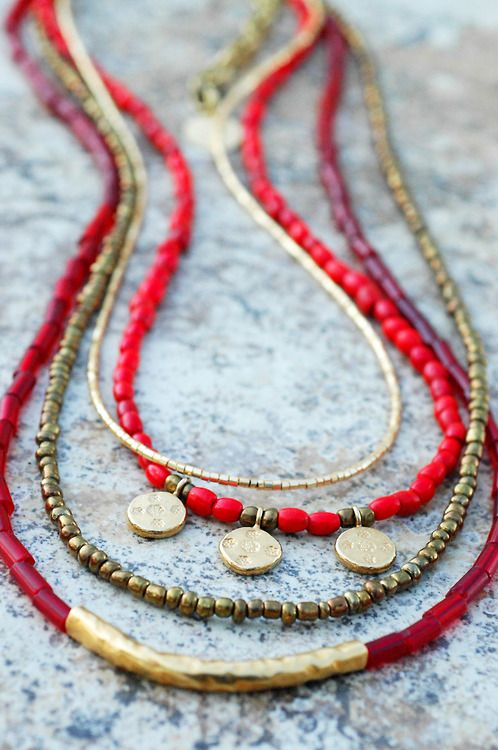 Red & Gold Holiday Necklace: Holiday Inspired Long Red Glass, Bronze and Gold Charm Necklace