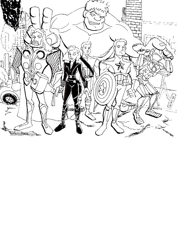 The Avengers Assemble Coloring Page - Download & Print ...