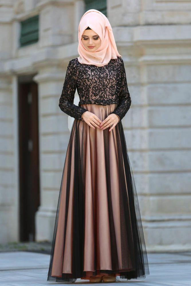 Neva Style Evening Dress Salmon Pink Hijab Dress 7829smn Hijab Hijabdress Hij 7829smn Dress Muslim Fashion Dress Muslimah Dress Hijab Evening Dress