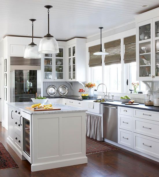 Lighting updates this whole space! More country kitchen ideas: http://www.bhg.com/kitchen/styles/country/country-kitchen-ideas/?socsrc=bhgpin063014lightsfantasticpage=17