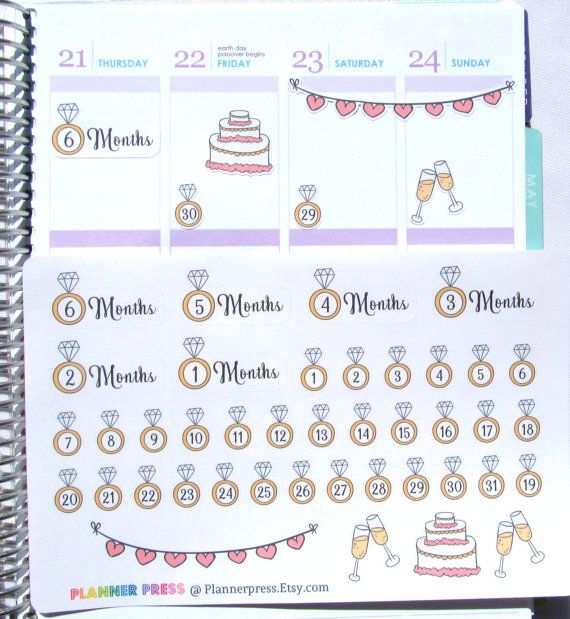Wedding Countdown Planner Sticker for Erin Condren by PlannerPress