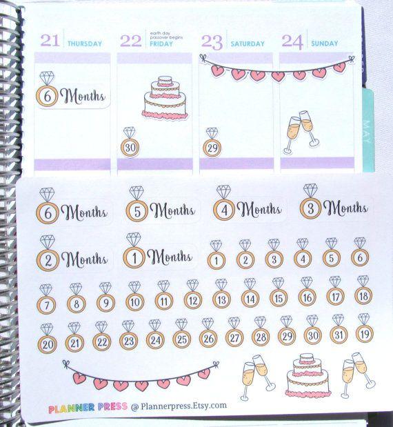 Wedding Countdown Planner Sticker For Erin Condren Life ECLP Reminder 1707