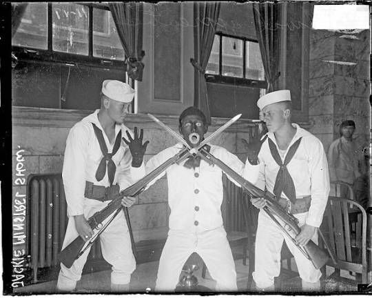 Naval apprentices giving a Jackie Minstrel Show at Great Lakes Naval Training Station, Chicago, Illinois, 1917