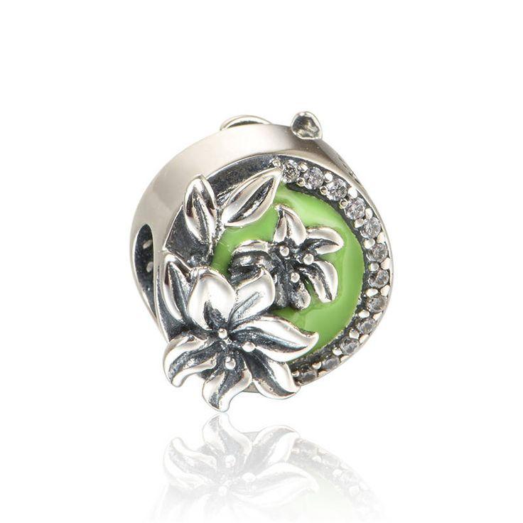 Orchidea con smalto verde e zirconi chiari bead 100% Argento sterling 925 adatta misure Pandora charm Pandora bead Braccialetto europeo X418 di OceanBijoux su Etsy