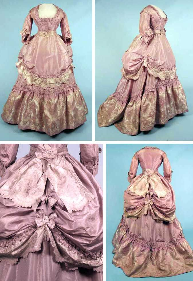 Lavender brocade reception gown, ca. 1870. Pale lilac silk taffeta with pleated & pinked self-fabric trim, lilac & ivory silk brocade flounces & bow. Square neck front-closing bodice with festoon attached to skirt. Trained skirt with back-gathers, brocade belt with back bow. Augusta Auctions