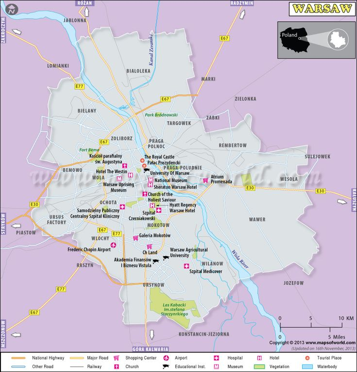 Warsaw Map showing major roads, shopping centers, airports, hospitals, hotels, tourist places, etc. Capital of Poland, Warsaw city is the  9th most populous city in the European Union and cultural, political, and economic center of Poland.