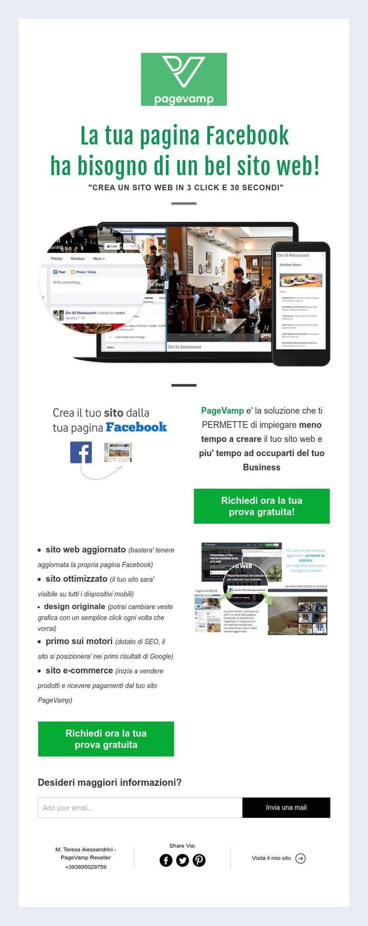 """La tua pagina Facebook  ha bisogno di un bel sito web!  """"CREA UN SITO WEB IN 3 CLICK E 30 SECONDI"""""""