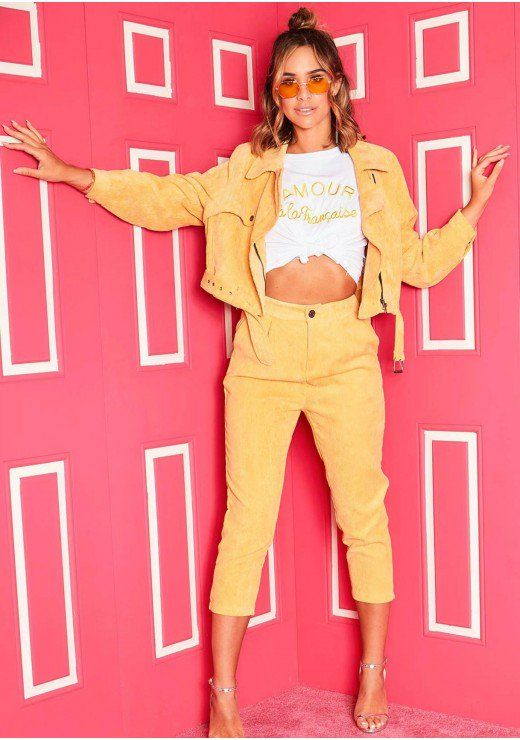70c5241fd2 Cassie Mustard Corduroy Cropped Trousers