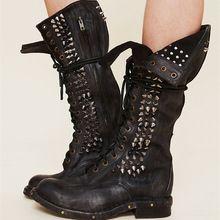 Super Top Qualité Dentelle Up Véritable Overknee Noir Cuisse Haute Bottes En Cuir Clouté Botas Mujer Cowboy Bottes Chaussures Femme Bas(China (Mainland))