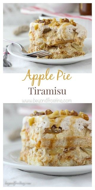 This Apple Pie Tiramisu is layered with ladyfingers soaked in bourbon, spiced mousse, apple pie spice whipped cream and apple pie filling.: This Apple Pie Tiramisu is layered with ladyfingers soaked in bourbon, spiced mousse, apple pie spice whipped cream and apple pie filling.