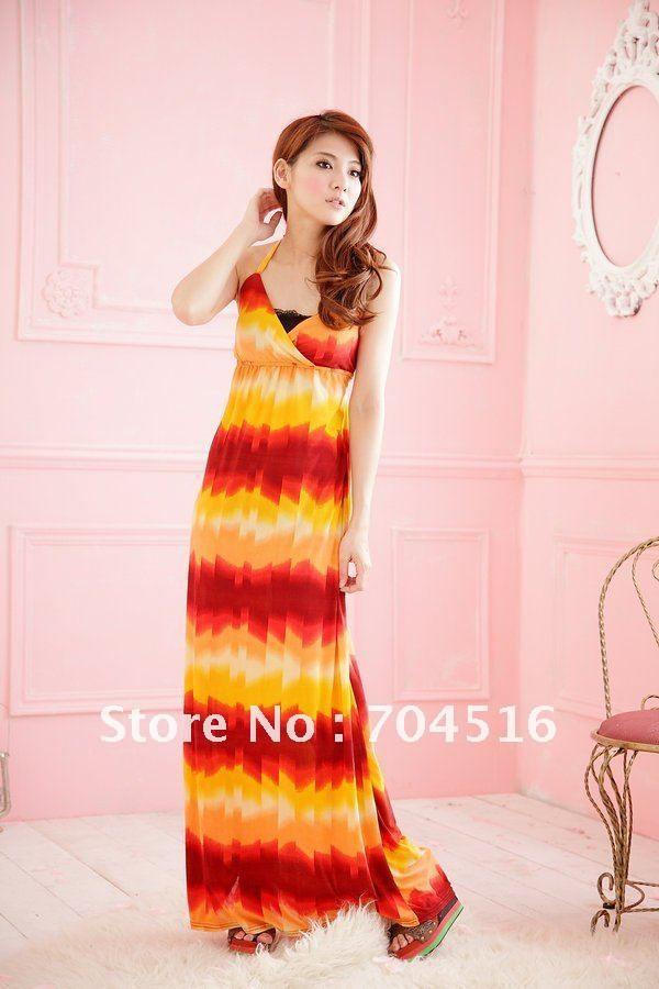 # 009 Brand New 2012 Bohemian V-hals vrouwen maxi jurken lang