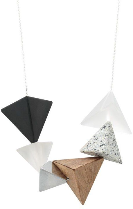 Zara Mixed Material Pyramid Necklace