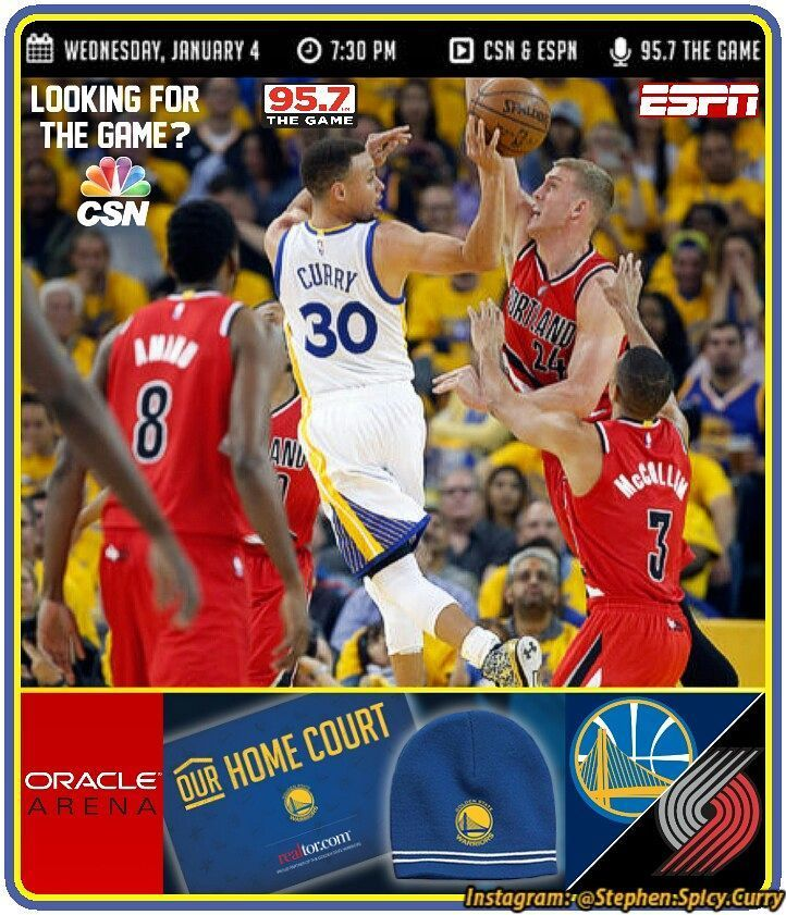 """In less than 3 hours the Trailblazers take on the Dubs at Oracle! Tonight is """"Our Home Court Night"""" and game time's 7:30PM. The first 10 thousand fans at Oracle get Warriors beanies and everybody at the arena gets a Warriors cheer card! Watch the game on CSN Bay Area nationally on ESPN and listen on 95.7 The Game."""