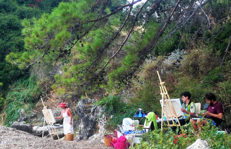 Metaxart artists painting outdoor during the August workshop, Poros , Kefalonia