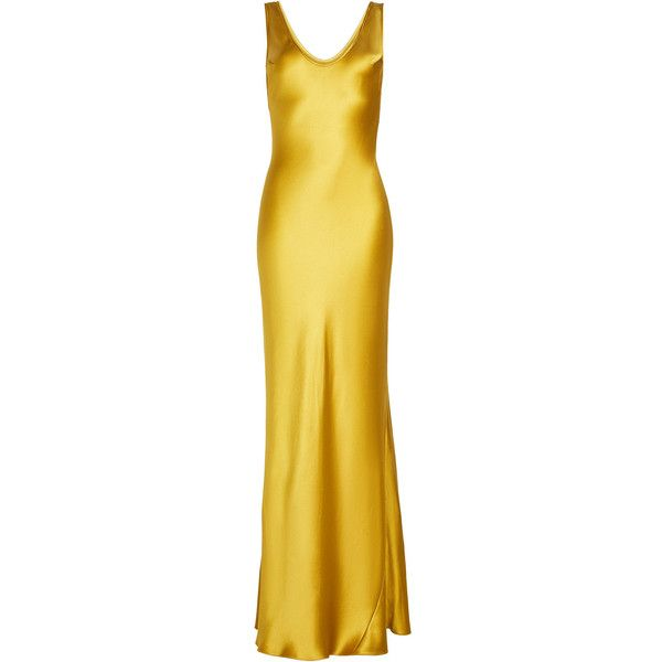 Galvan Silk Dress (58,710 PHP) ❤ liked on Polyvore featuring dresses, gowns, long dresses, gold, yellow dresses, yellow silk dress, yellow evening gown and yellow gown