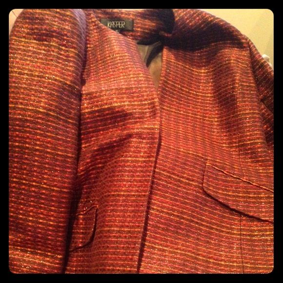 Tweed sports coat Tweed sports coat. Jasper. Colors are purple orange and brown with threads that sparkle. Kasper Jackets & Coats Blazers
