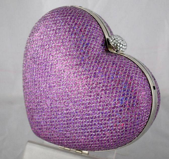 Lavender Purple Clutch Bag - Glittery Heart Shaped