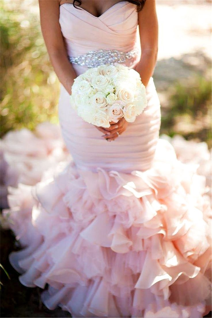 2016 Blush Pink Mermaid Wedding Dresses Ruched Ruffles Train Lace-up Back Sleeveless Bridal Gowns