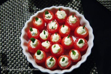 Tomate Cereja recheado com ervas