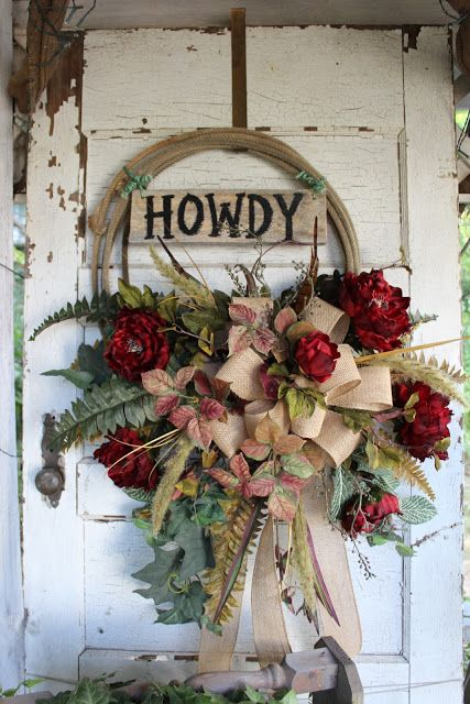 Howdy - Rustic western lasso wreath with burgundy peonies