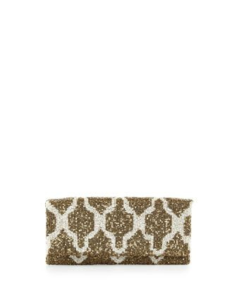 Trellis Beaded Clutch Bag, Gold by Moyna at Neiman Marcus.