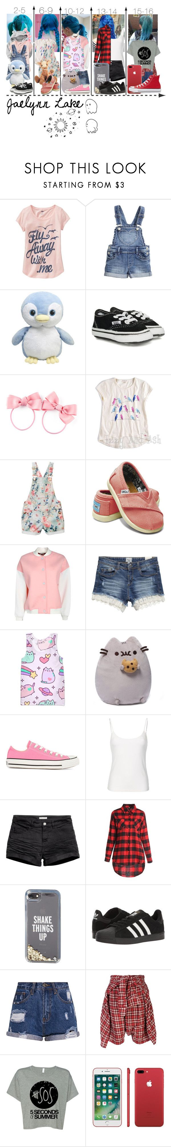 """""""Blue haired miracle"""" by frootloop16 ❤ liked on Polyvore featuring Gap, Old Navy, Vans, H&M, Appaman, TOMS, Tarah, Pusheen, Converse and Kate Spade"""