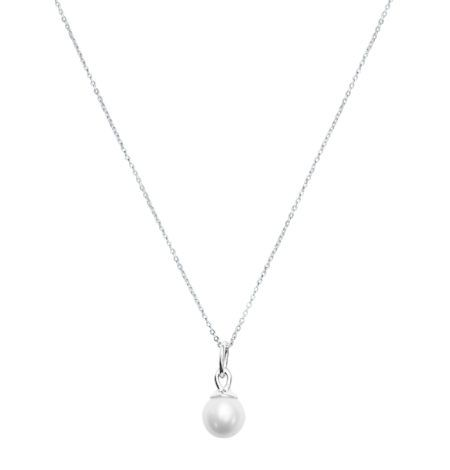 Tear Drop Pearl Charm in Sterling Silver on Murkani Sterling Silver Curb Chain. The Chain is available in 2 lengths, for more information please visit our website.