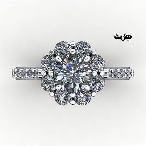 Moissanite anillo de compromiso 14kt oro blanco siempre uno