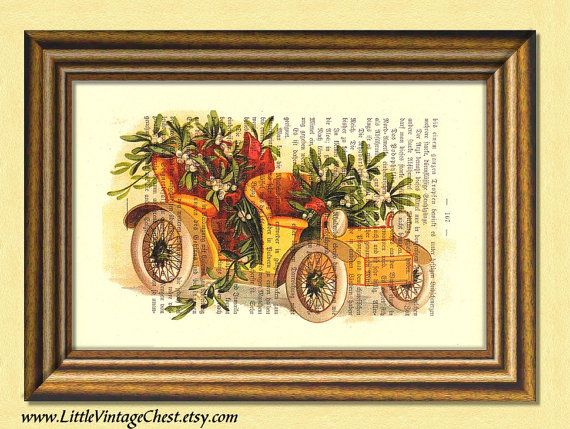 SANTA'S YELLOW CAR Christmas print  by littlevintagechest on Etsy, $7.99