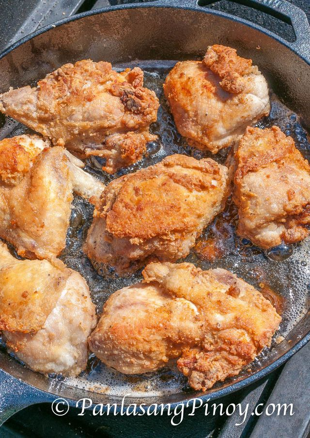 Pinoy Style Fried Chicken on pan
