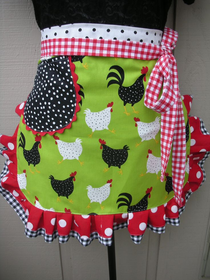 Chickens Half Apron. Replace the green with blue and this would totally match my kitchen.