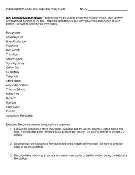 Industrialization And Mass Production Study Guide Study Guide