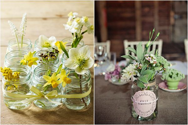 Vintage Flower Arrangements in Mason Jars | Vintage Mason Jars Grouping & with herbs