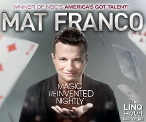 Save $20 off America's Got Talent Winner, Mat Franco, in his NEW Las Vegas show at The Linq that puts a fresh & fun twist on magic