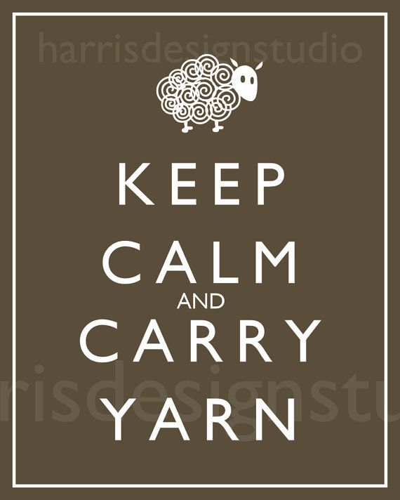 "got a wonderful ""keep calm and carry yarn"" bag for my birthday, love it!"