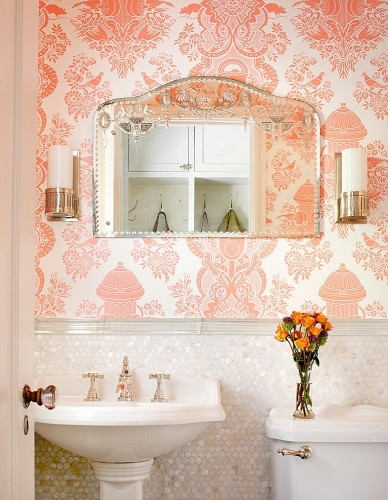 great powder room...whimsical wallpaper...iridescent penny tile: Mirror, Bathroom Design, Pennies Tile, Bathroom Ideas, House, Design Studios, Powder Rooms, Bathroom Wallpapers, Pink Bathroom