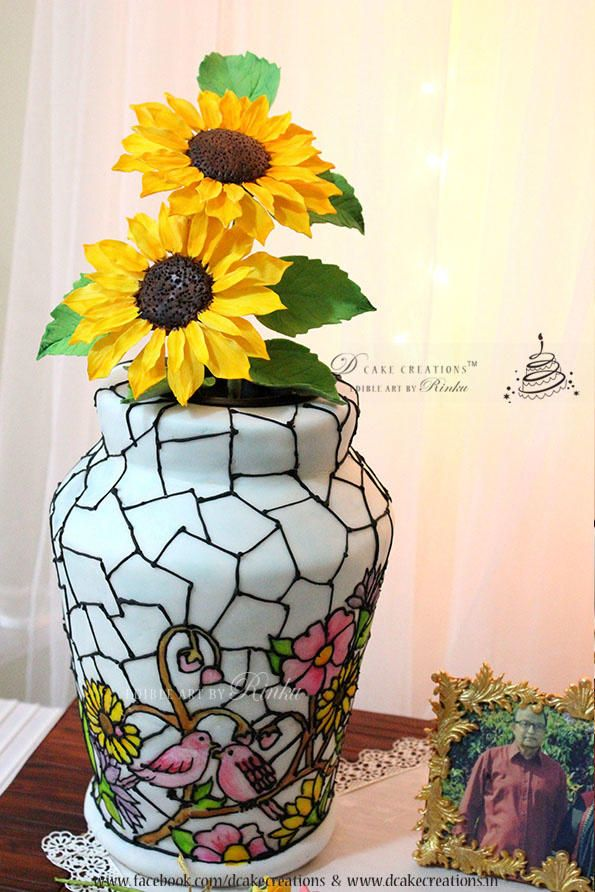 Stained Glass Flower Vase by D Cake Creations