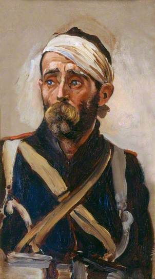 Study of a Wounded Guardsman, Crimea, c.1854 (verso) by Elizabeth Southerden Thompson Butler    Date painted: c.1874