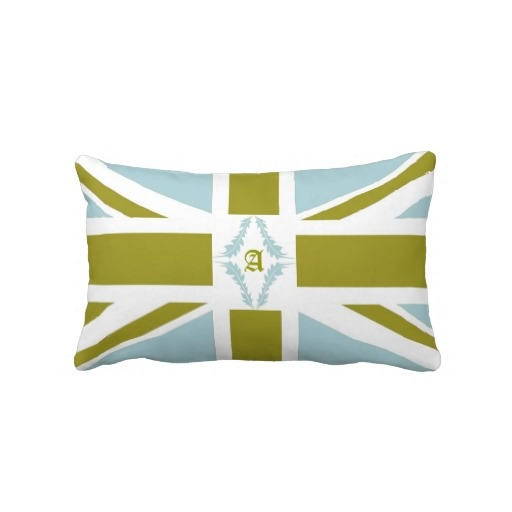 EnKore Aqua And Green Pillow-Beautiful United Kingdom flag altered in to the colors of aqua, green and white with a center coordinating design and your initial. $49.95