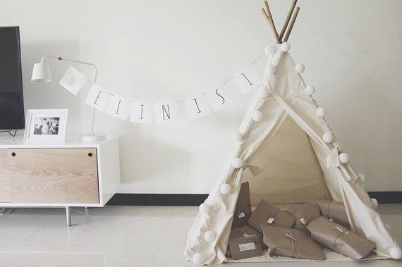 White Teepee Customise Teepee Teepee Children's by EriesBabyStudio